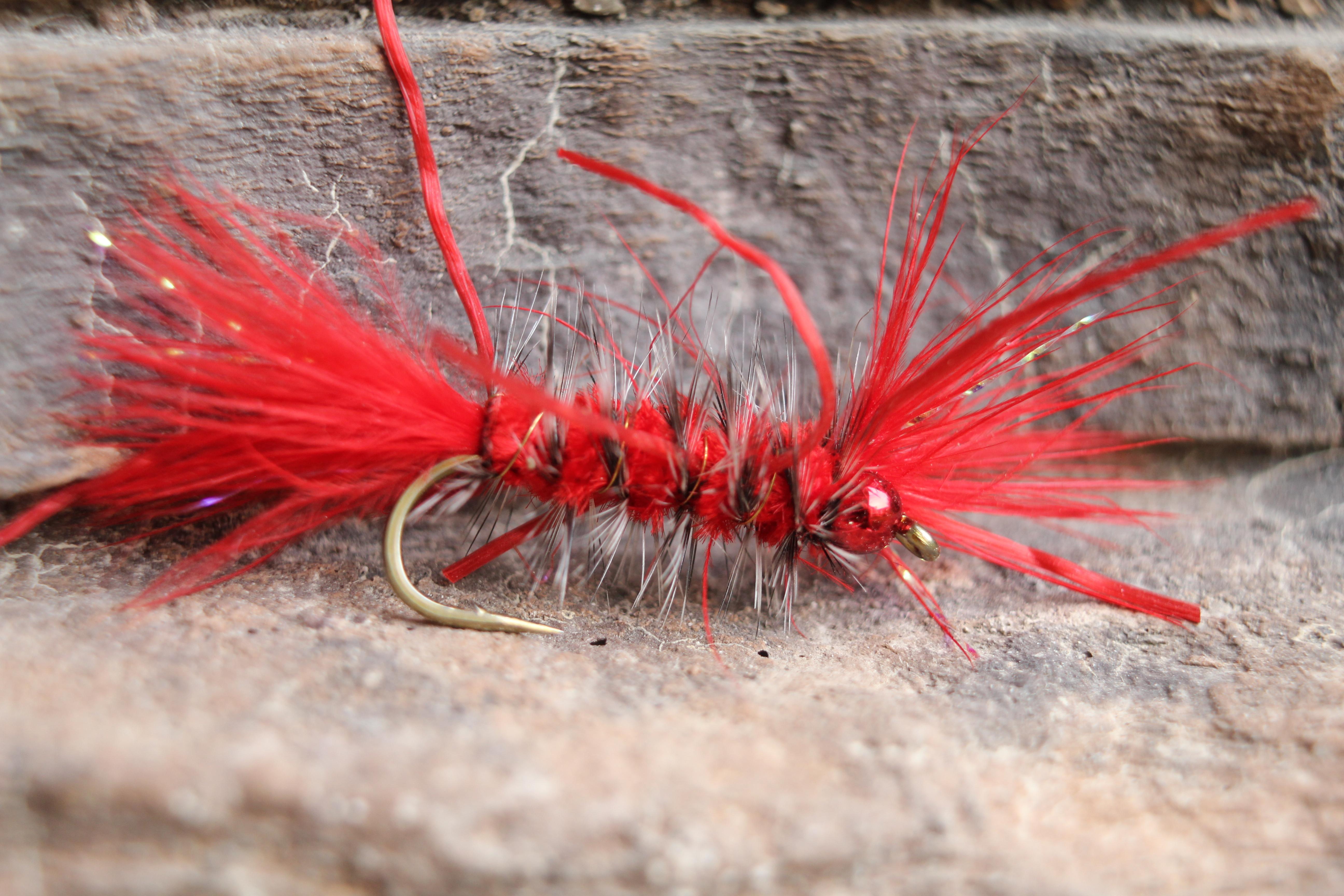 12 Red San Juan Worms Size 10 fishing flies One Dozen